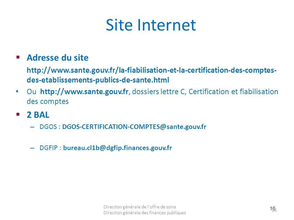 16 Site Internet Adresse du site http://www.sante.gouv.fr/la-fiabilisation-et-la-certification-des-comptes- des-etablissements-publics-de-sante.html O