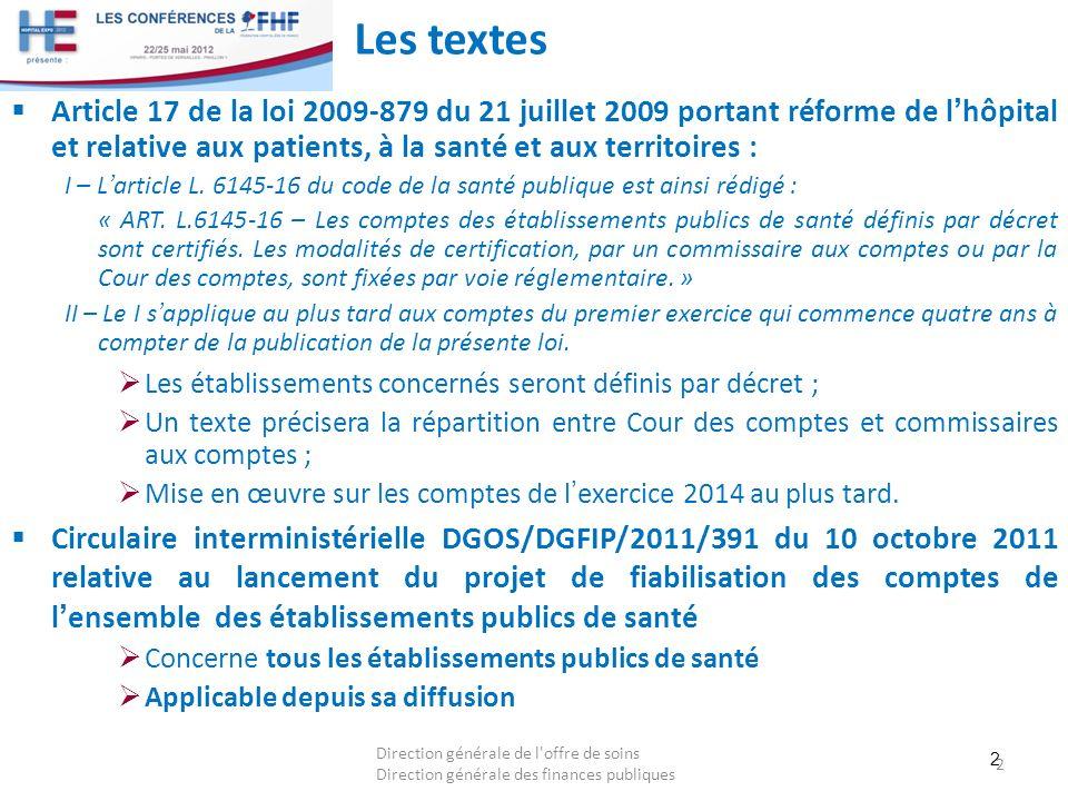 2 Les textes Article 17 de la loi 2009-879 du 21 juillet 2009 portant réforme de lhôpital et relative aux patients, à la santé et aux territoires : I