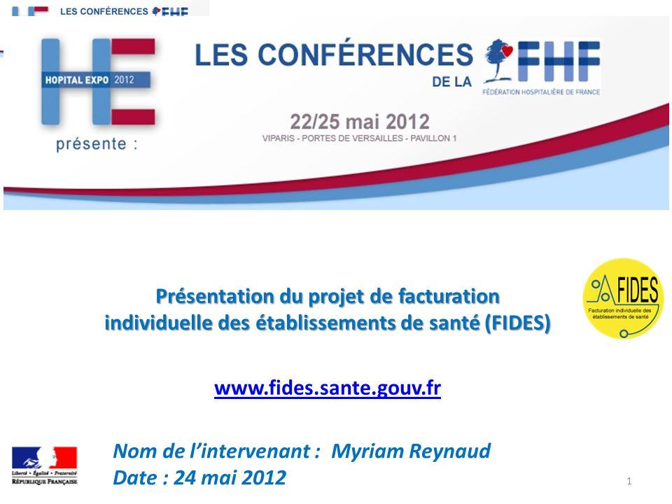 Présentation du projet de facturation individuelle des établissements de santé (FIDES) www.fides.sante.gouv.fr Nom de lintervenant : Myriam Reynaud Date : 24 mai 2012 1