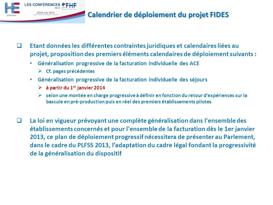 Etant données les différentes contraintes juridiques et calendaires liées au projet, proposition des premiers éléments calendaires de déploiement suivants : Généralisation progressive de la facturation individuelle des ACE Cf.
