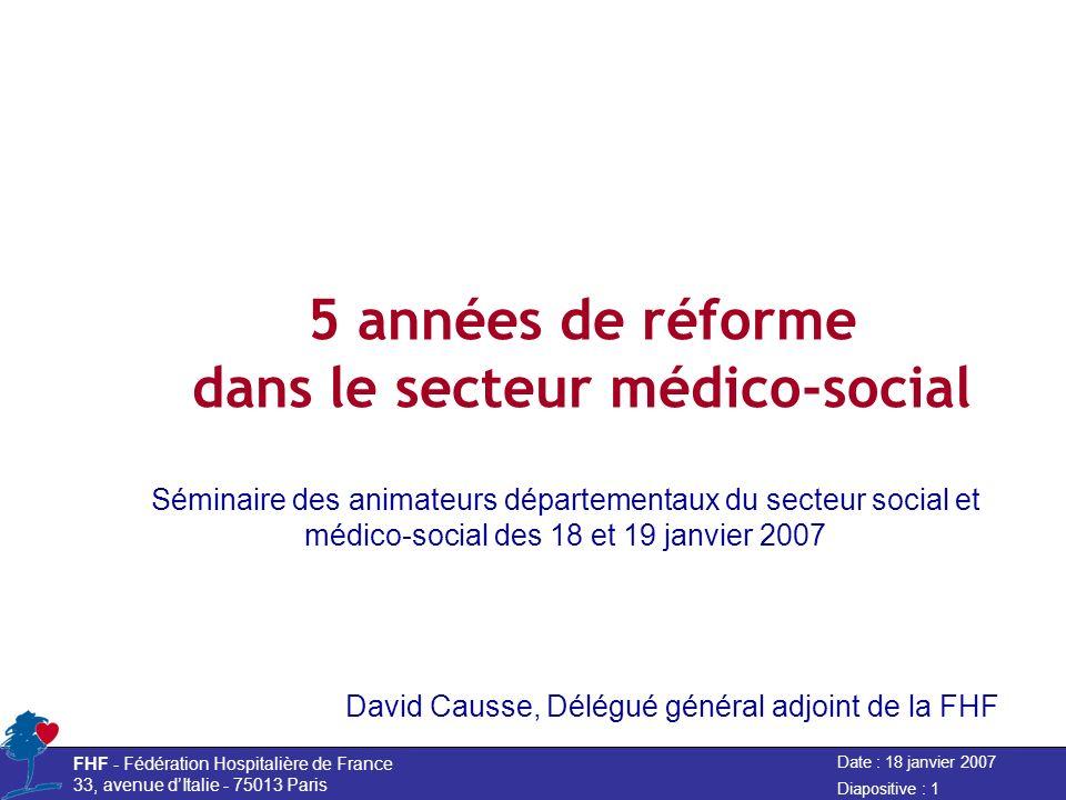 Date : 18 janvier 2007 FHF - Fédération Hospitalière de France 33, avenue dItalie - 75013 Paris Diapositive : 1 5 années de réforme dans le secteur mé