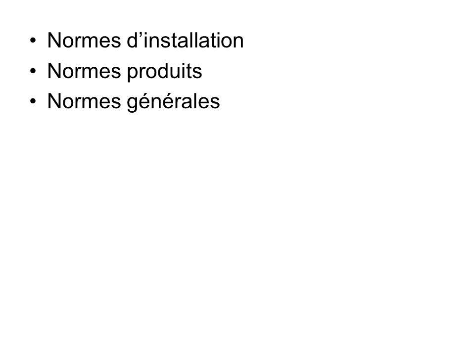 Normes dinstallation Normes produits Normes générales