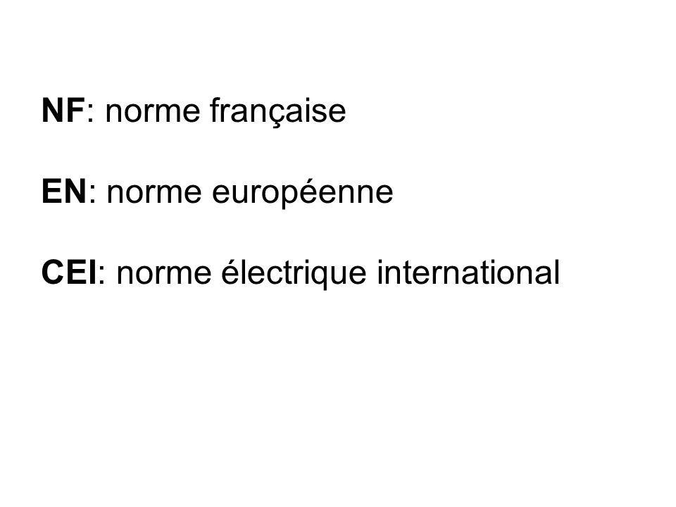 NF: norme française EN: norme européenne CEI: norme électrique international