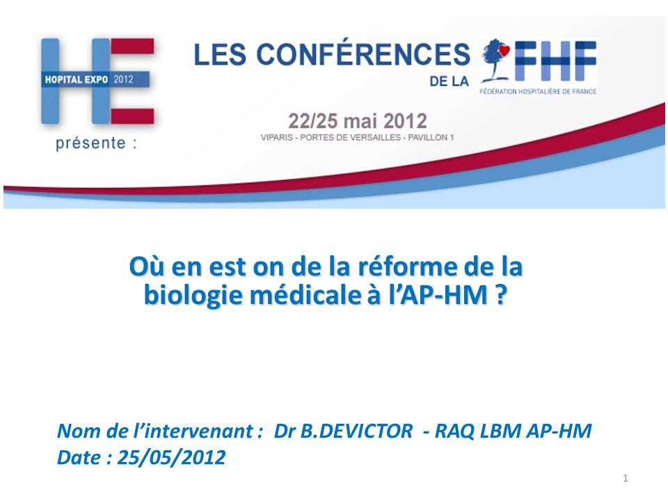 Où en est on de la réforme de la biologie médicale à lAP-HM ? Nom de lintervenant : Dr B.DEVICTOR - RAQ LBM AP-HM Date : 25/05/2012 1
