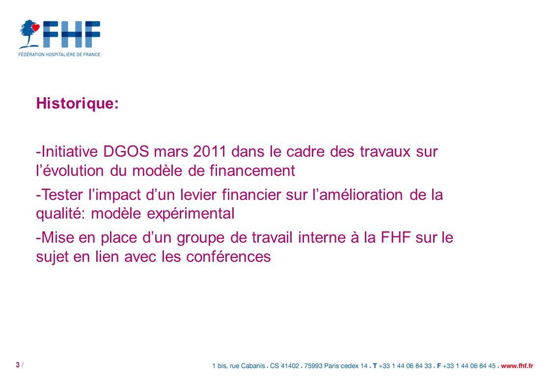 3 / Historique: -Initiative DGOS mars 2011 dans le cadre des travaux sur lévolution du modèle de financement -Tester limpact dun levier financier sur
