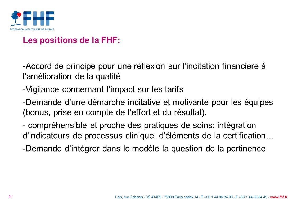 4 / Les positions de la FHF: -Accord de principe pour une réflexion sur lincitation financière à lamélioration de la qualité -Vigilance concernant limpact sur les tarifs -Demande dune démarche incitative et motivante pour les équipes (bonus, prise en compte de leffort et du résultat), - compréhensible et proche des pratiques de soins: intégration dindicateurs de processus clinique, déléments de la certification… -Demande dintégrer dans le modèle la question de la pertinence