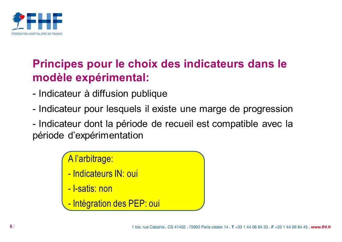 6 / Principes pour le choix des indicateurs dans le modèle expérimental: - Indicateur à diffusion publique - Indicateur pour lesquels il existe une ma