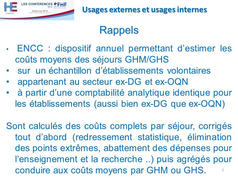 Usages externes et usages internes Rappels ENCC : dispositif annuel permettant destimer les coûts moyens des séjours GHM/GHS sur un échantillon détabl