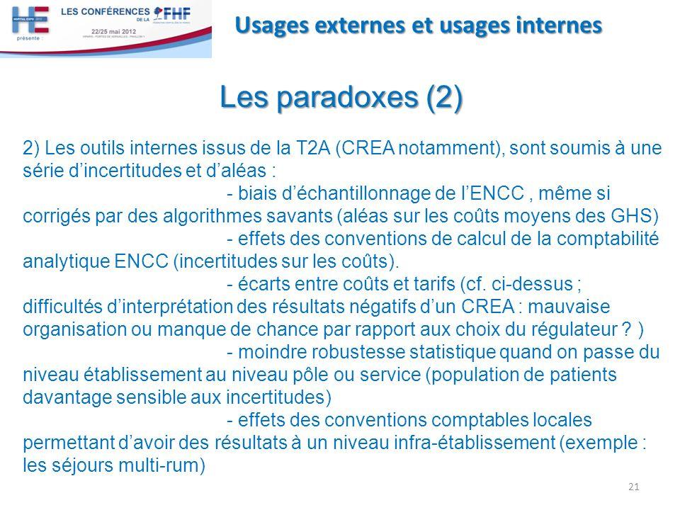 21 Usages externes et usages internes Les paradoxes (2) 2) Les outils internes issus de la T2A (CREA notamment), sont soumis à une série dincertitudes