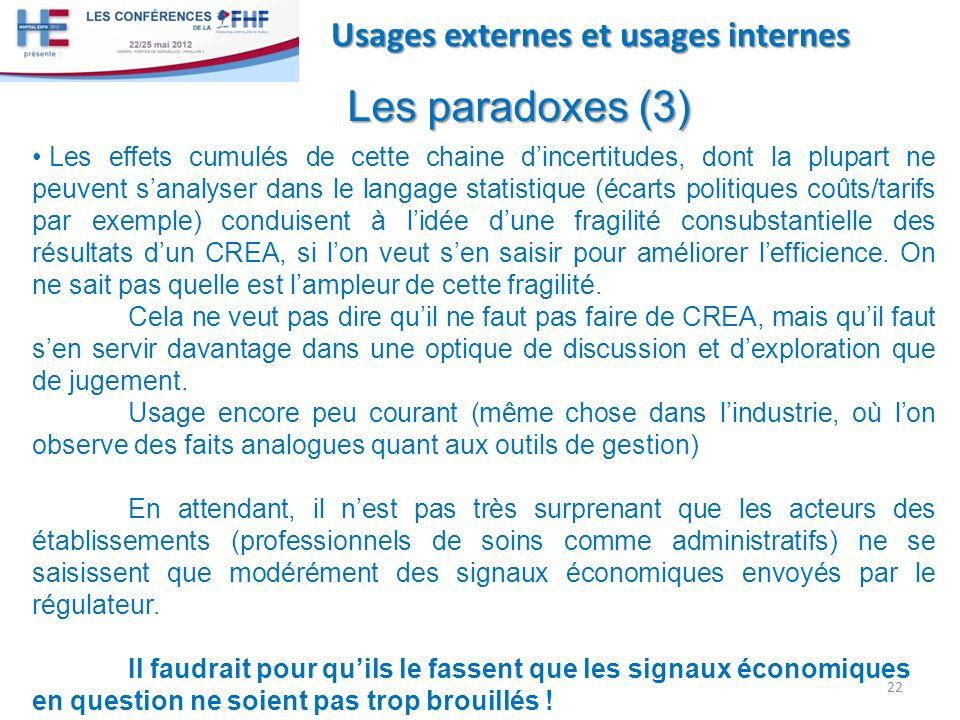 22 Usages externes et usages internes Les paradoxes (3) Les effets cumulés de cette chaine dincertitudes, dont la plupart ne peuvent sanalyser dans le