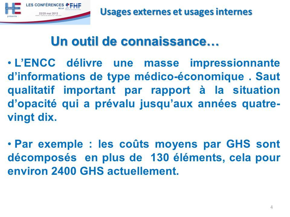 4 Usages externes et usages internes Un outil de connaissance… LENCC délivre une masse impressionnante dinformations de type médico-économique. Saut q