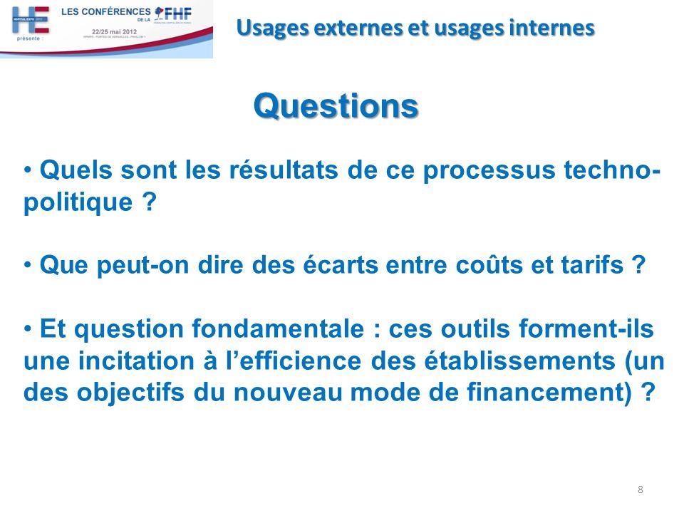 8 Usages externes et usages internes Questions Quels sont les résultats de ce processus techno- politique ? Que peut-on dire des écarts entre coûts et