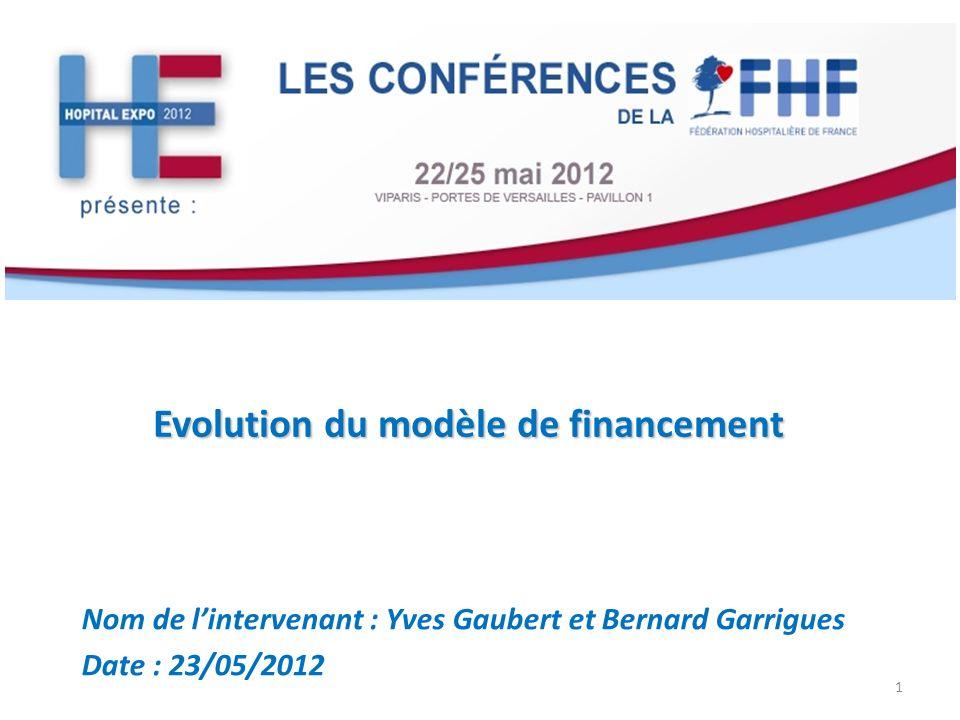 Evolution du modèle de financement Nom de lintervenant : Yves Gaubert et Bernard Garrigues Date : 23/05/2012 1