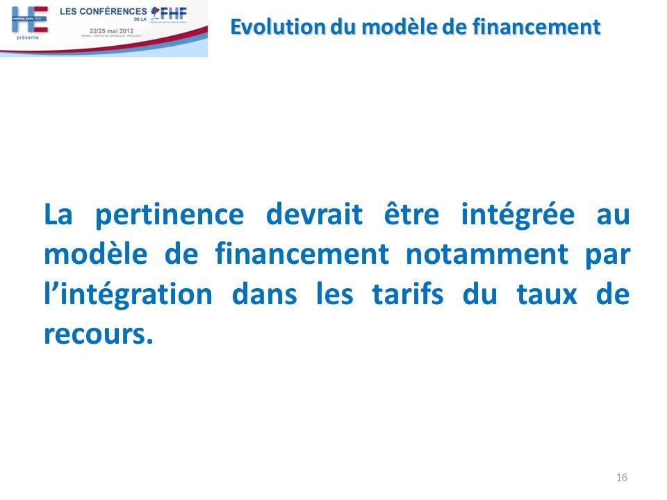 La pertinence devrait être intégrée au modèle de financement notamment par lintégration dans les tarifs du taux de recours. 16 Evolution du modèle de
