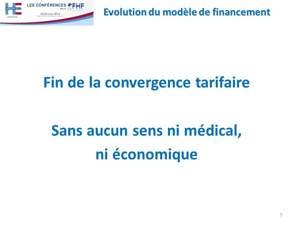 Fin de la convergence tarifaire Sans aucun sens ni médical, ni économique 3 Evolution du modèle de financement