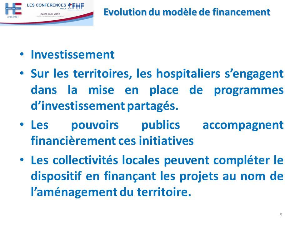 Investissement Sur les territoires, les hospitaliers sengagent dans la mise en place de programmes dinvestissement partagés. Les pouvoirs publics acco