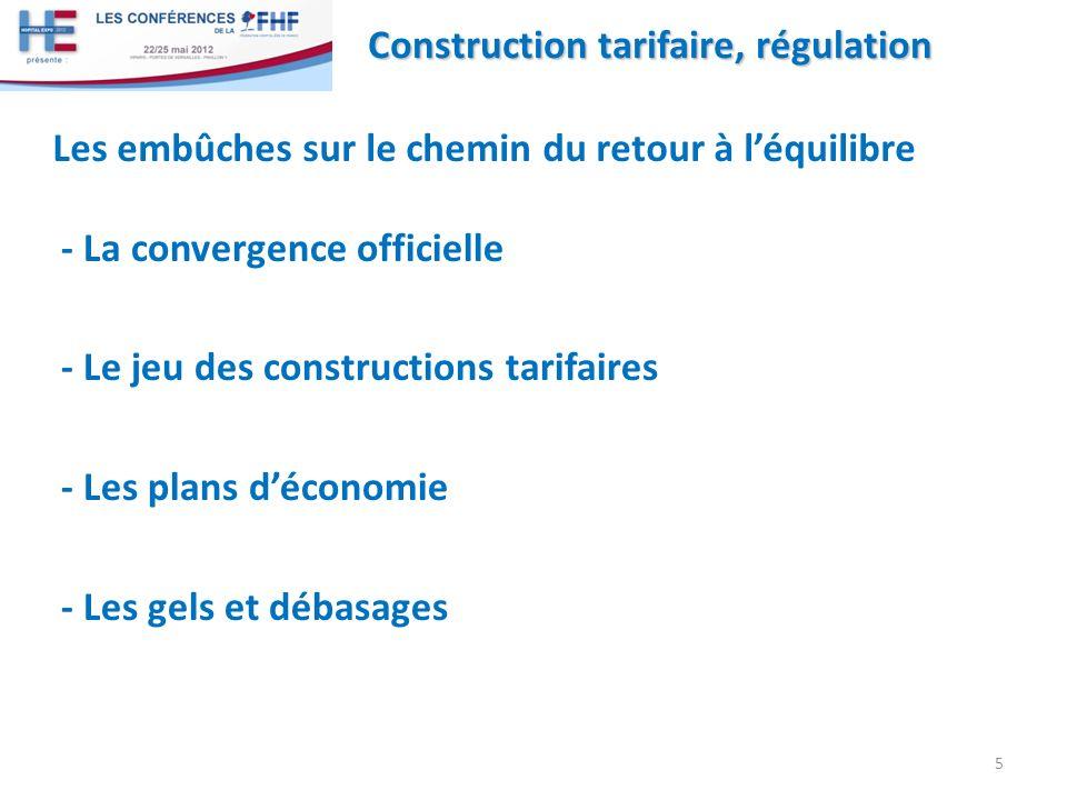 - La convergence officielle - Le jeu des constructions tarifaires - Les plans déconomie - Les gels et débasages 5 Construction tarifaire, régulation Les embûches sur le chemin du retour à léquilibre