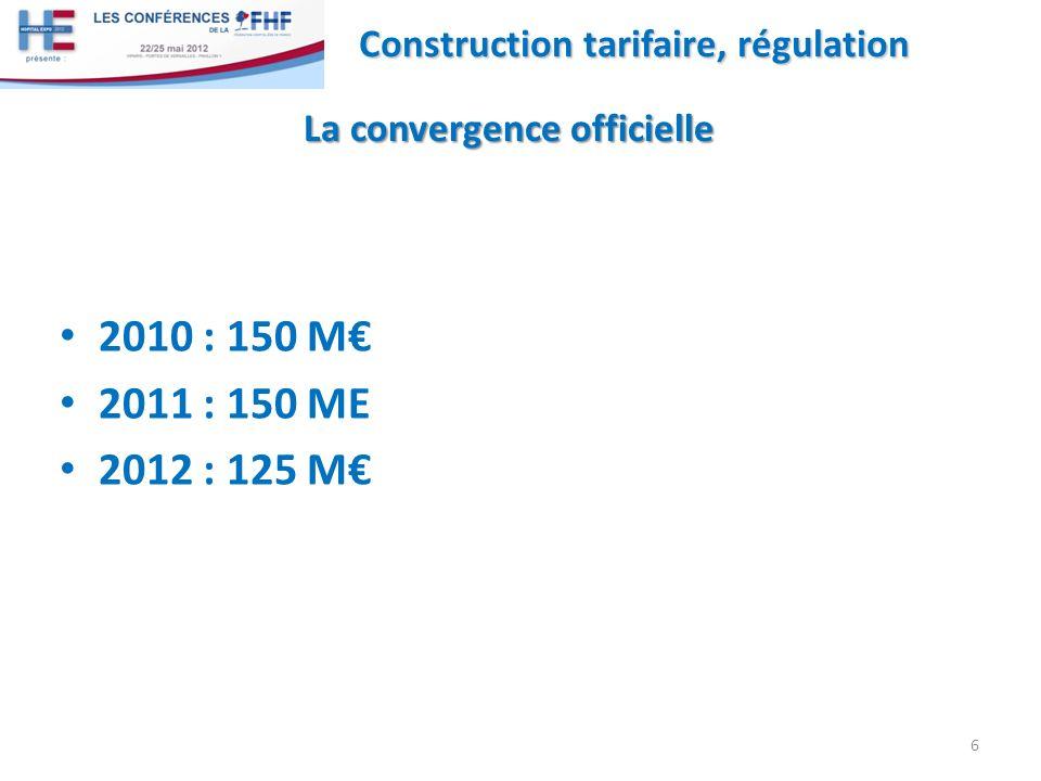 2010 : 150 M 2011 : 150 ME 2012 : 125 M 6 Construction tarifaire, régulation La convergence officielle