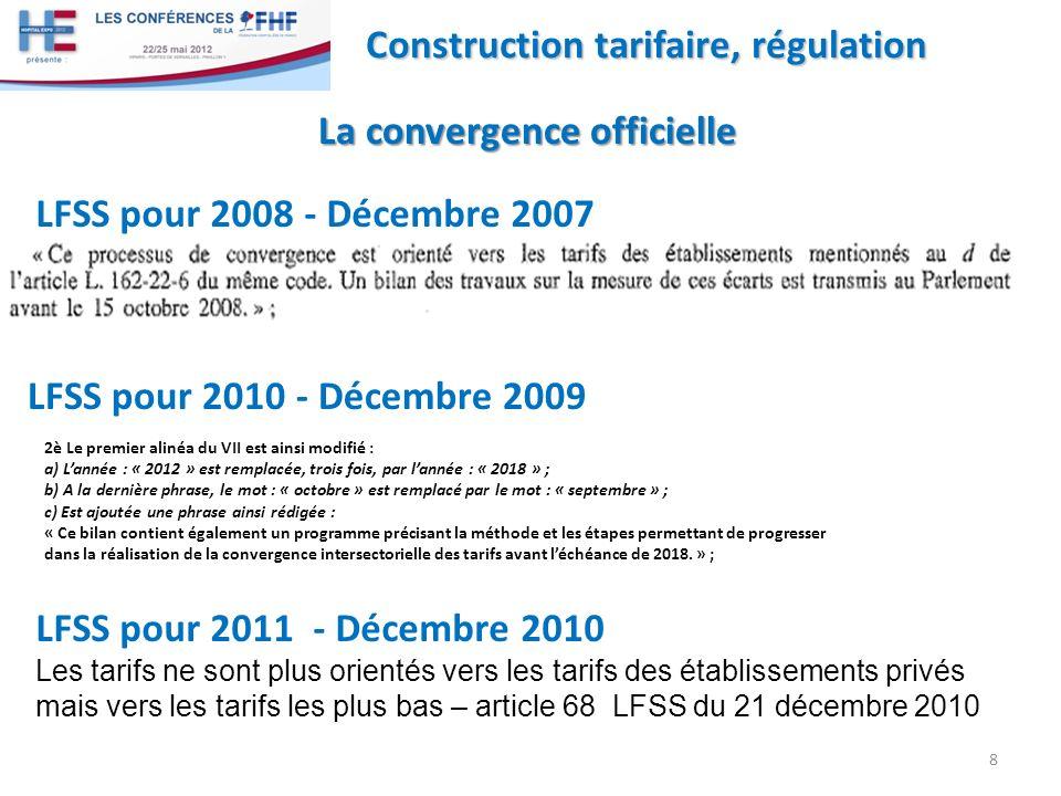 9 Construction tarifaire, régulation La convergence officielle La convergence officielle Rappel sur la comparaison des périmètres de charges couvertes par les tarifs Rapport au parlement 2011 En dépit des différences de périmètre des tarifs