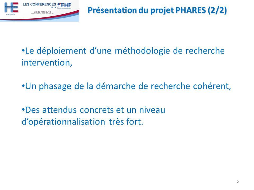 Présentation du projet PHARES (2/2) Le déploiement dune méthodologie de recherche intervention, Un phasage de la démarche de recherche cohérent, Des attendus concrets et un niveau dopérationnalisation très fort.