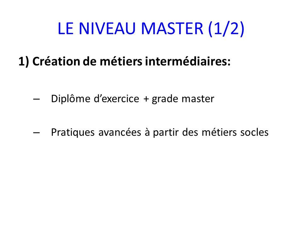LE NIVEAU MASTER (1/2) 1) Création de métiers intermédiaires: – Diplôme dexercice + grade master – Pratiques avancées à partir des métiers socles