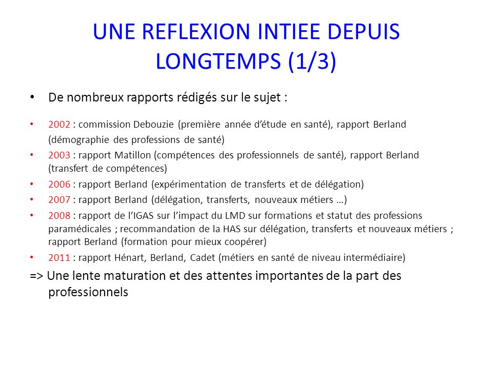 UNE REFLEXION INTIEE DEPUIS LONGTEMPS (1/3) De nombreux rapports rédigés sur le sujet : 2002 : commission Debouzie (première année détude en santé), rapport Berland (démographie des professions de santé) 2003 : rapport Matillon (compétences des professionnels de santé), rapport Berland (transfert de compétences) 2006 : rapport Berland (expérimentation de transferts et de délégation) 2007 : rapport Berland (délégation, transferts, nouveaux métiers …) 2008 : rapport de lIGAS sur limpact du LMD sur formations et statut des professions paramédicales ; recommandation de la HAS sur délégation, transferts et nouveaux métiers ; rapport Berland (formation pour mieux coopérer) 2011 : rapport Hénart, Berland, Cadet (métiers en santé de niveau intermédiaire) => Une lente maturation et des attentes importantes de la part des professionnels