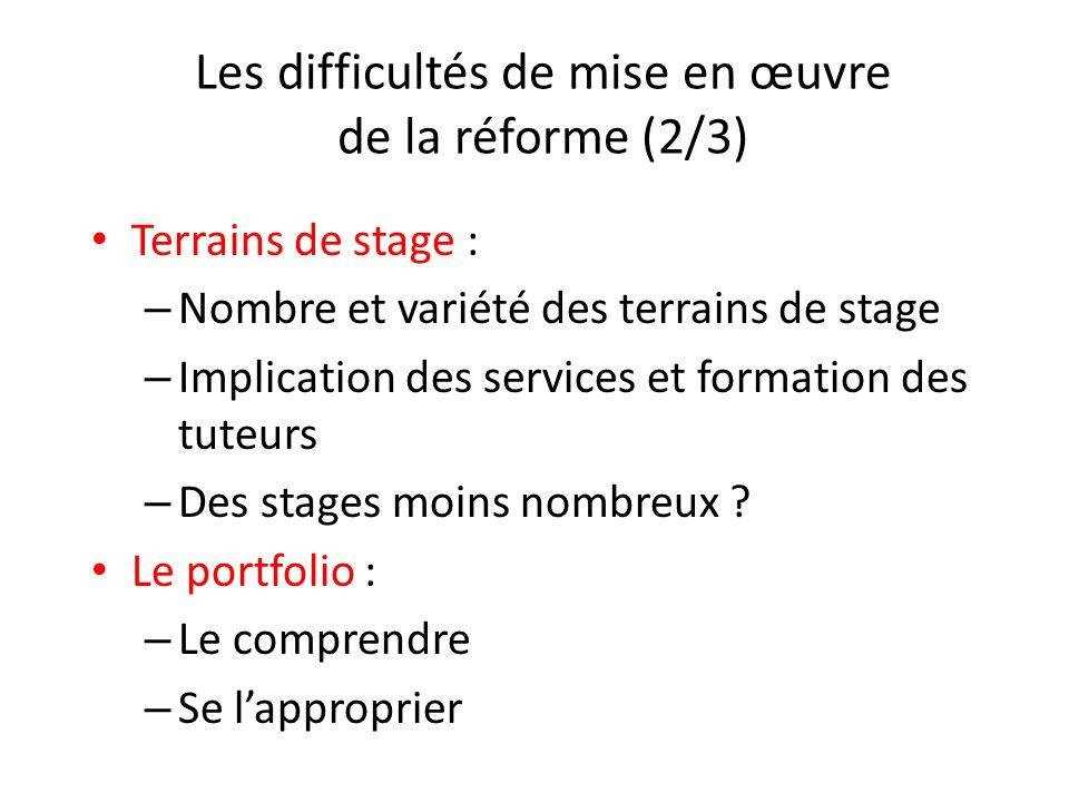 Les difficultés de mise en œuvre de la réforme (2/3) Terrains de stage : – Nombre et variété des terrains de stage – Implication des services et forma