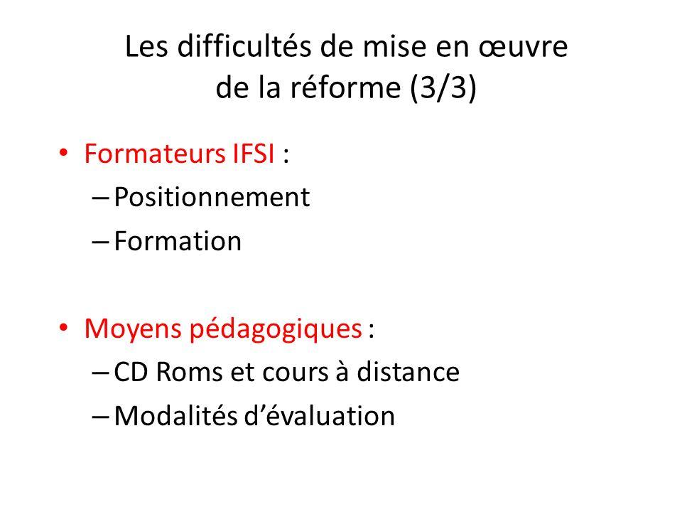Les difficultés de mise en œuvre de la réforme (3/3) Formateurs IFSI : – Positionnement – Formation Moyens pédagogiques : – CD Roms et cours à distanc