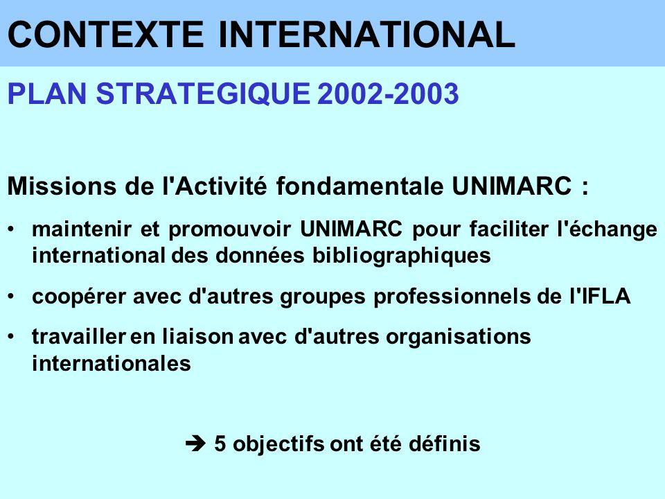 CONTEXTE INTERNATIONAL PLAN STRATEGIQUE 2002-2003 Missions de l'Activité fondamentale UNIMARC : maintenir et promouvoir UNIMARC pour faciliter l'échan