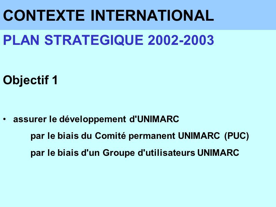 CONTEXTE INTERNATIONAL PLAN STRATEGIQUE 2002-2003 Objectif 1 assurer le développement d'UNIMARC par le biais du Comité permanent UNIMARC (PUC) par le