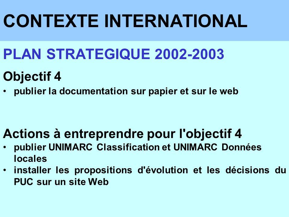 CONTEXTE INTERNATIONAL PLAN STRATEGIQUE 2002-2003 Objectif 4 publier la documentation sur papier et sur le web Actions à entreprendre pour l'objectif