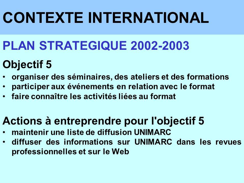CONTEXTE INTERNATIONAL PLAN STRATEGIQUE 2002-2003 Objectif 5 organiser des séminaires, des ateliers et des formations participer aux événements en rel