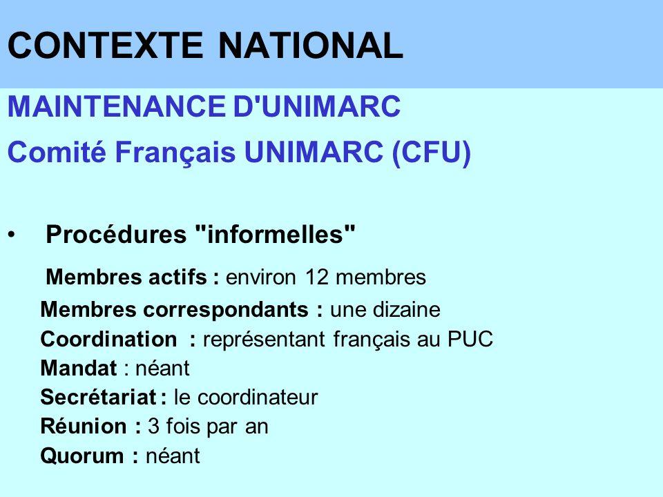 CONTEXTE NATIONAL MAINTENANCE D'UNIMARC Comité Français UNIMARC (CFU) Procédures