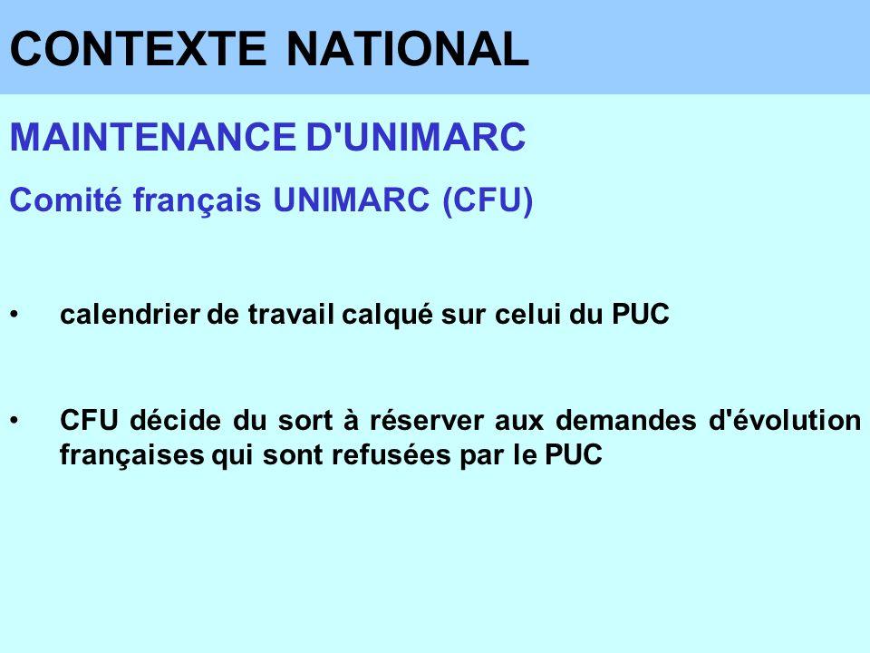 CONTEXTE NATIONAL MAINTENANCE D'UNIMARC Comité français UNIMARC (CFU) calendrier de travail calqué sur celui du PUC CFU décide du sort à réserver aux