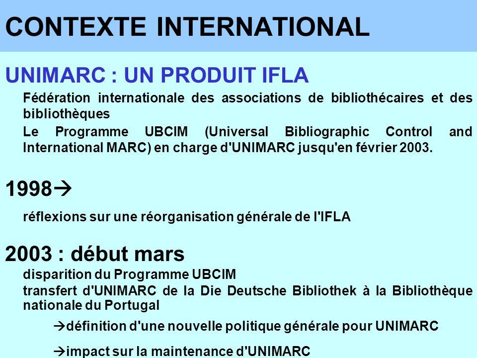 CONTEXTE INTERNATIONAL UNIMARC : UN PRODUIT IFLA Fédération internationale des associations de bibliothécaires et des bibliothèques Le Programme UBCIM