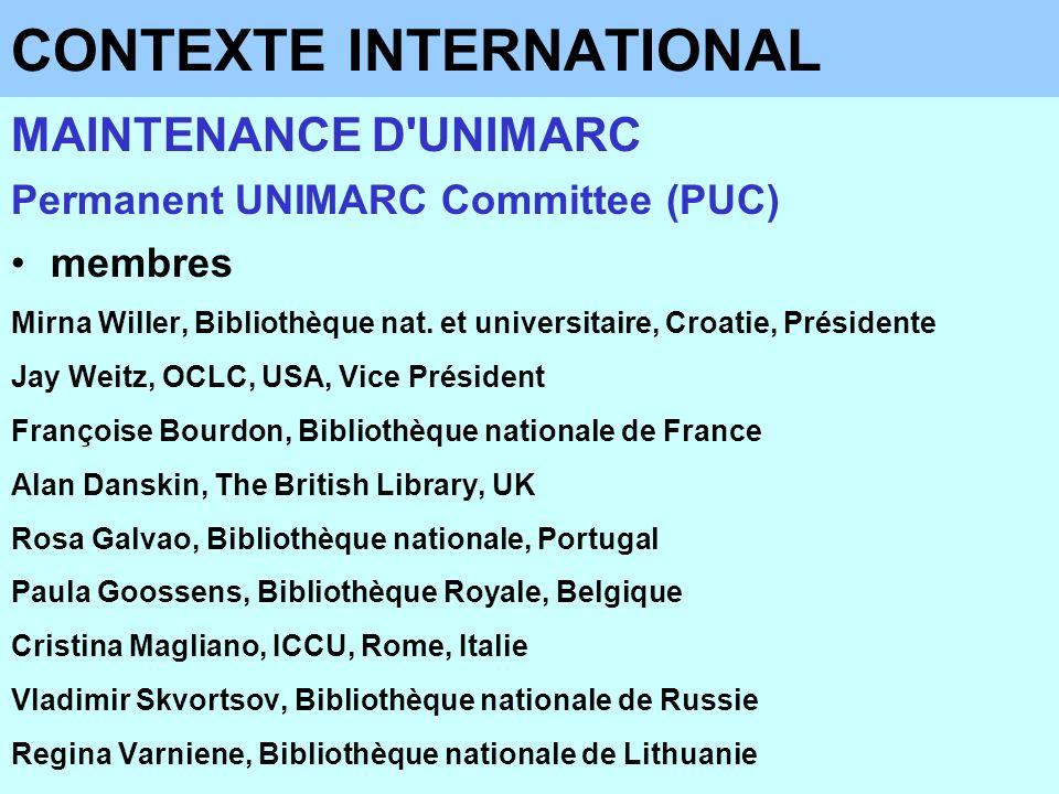 CONTEXTE NATIONAL MAINTENANCE D UNIMARC Comité Français UNIMARC (CFU) création du CFU (en 2000) –sous-groupe des documents sonores (en 2001) objectifs –recenser les besoins français relatifs à UNIMARC –examiner les demandes d évolution du format émanant des bibliothèques étrangères –assurer ou valider la traduction française des formats –assurer la diffusion de l information – jouer un rôle de veille