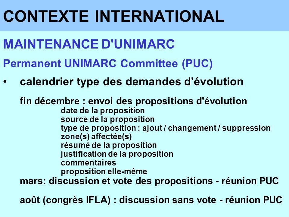 CONTEXTE INTERNATIONAL MAINTENANCE D'UNIMARC Permanent UNIMARC Committee (PUC) calendrier type des demandes d'évolution fin décembre : envoi des propo