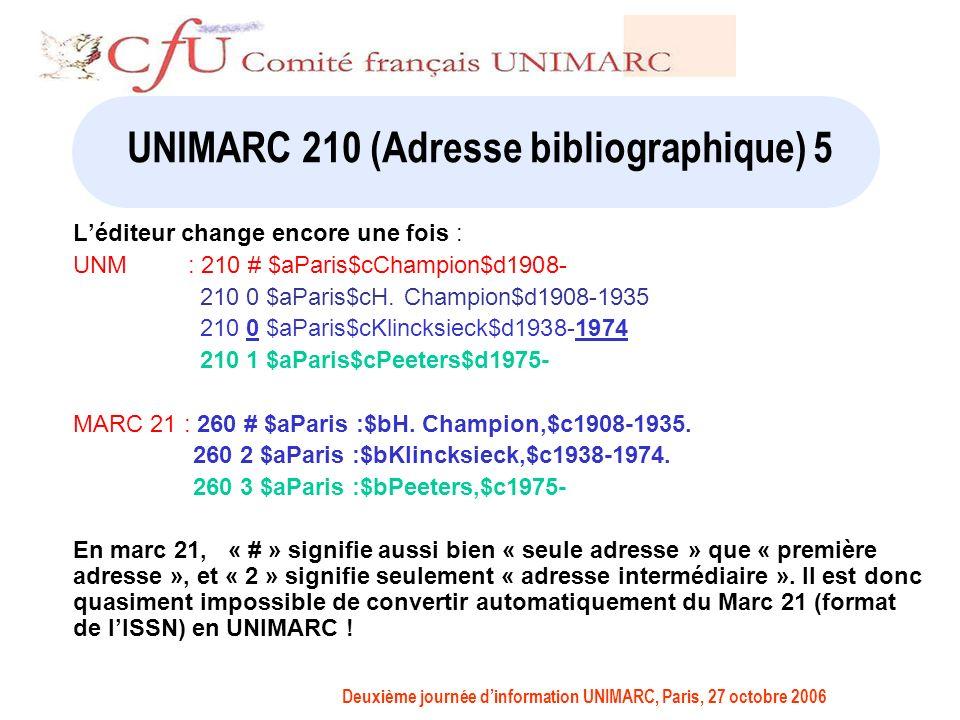 Deuxième journée dinformation UNIMARC, Paris, 27 octobre 2006 UNIMARC 210 (Adresse bibliographique) 5 Léditeur change encore une fois : UNM : 210 # $aParis$cChampion$d1908- 210 0 $aParis$cH.