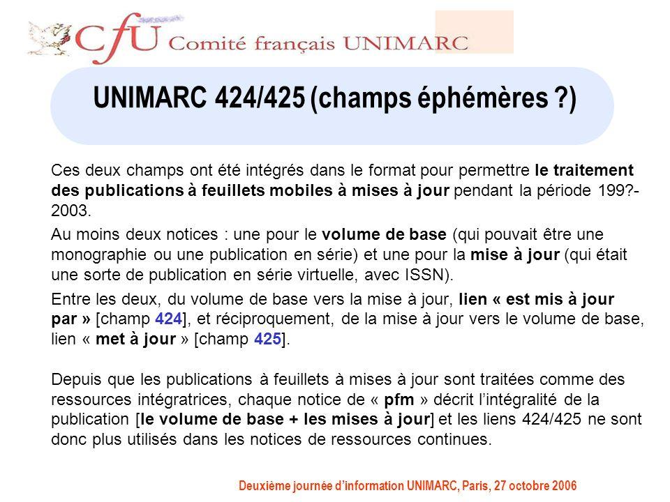 Deuxième journée dinformation UNIMARC, Paris, 27 octobre 2006 UNIMARC 424/425 (champs éphémères ) Ces deux champs ont été intégrés dans le format pour permettre le traitement des publications à feuillets mobiles à mises à jour pendant la période 199 - 2003.