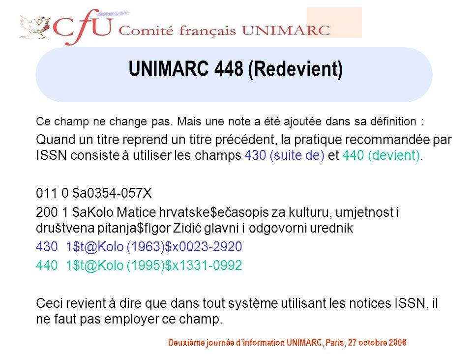 Deuxième journée dinformation UNIMARC, Paris, 27 octobre 2006 UNIMARC 448 (Redevient) Ce champ ne change pas.