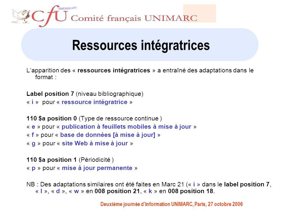 Deuxième journée dinformation UNIMARC, Paris, 27 octobre 2006 Ressources intégratrices Lapparition des « ressources intégratrices » a entraîné des adaptations dans le format : Label position 7 (niveau bibliographique) « i » pour « ressource intégratrice » 110 $a position 0 (Type de ressource continue ) « e » pour « publication à feuillets mobiles à mise à jour » « f » pour « base de données [à mise à jour] » « g » pour « site Web à mise à jour » 110 $a position 1 (Périodicité ) « p » pour « mise à jour permanente » NB : Des adaptations similaires ont été faites en Marc 21 (« i » dans le label position 7, « l », « d », « w » en 008 position 21, « k » en 008 position 18.
