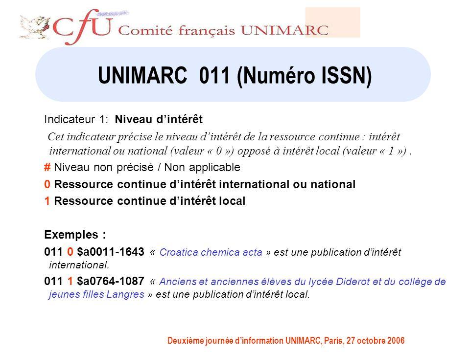 Deuxième journée dinformation UNIMARC, Paris, 27 octobre 2006 UNIMARC 011 (Numéro ISSN) Indicateur 1:Niveau dintérêt Cet indicateur précise le niveau dintérêt de la ressource continue : intérêt international ou national (valeur « 0 ») opposé à intérêt local (valeur « 1 »).