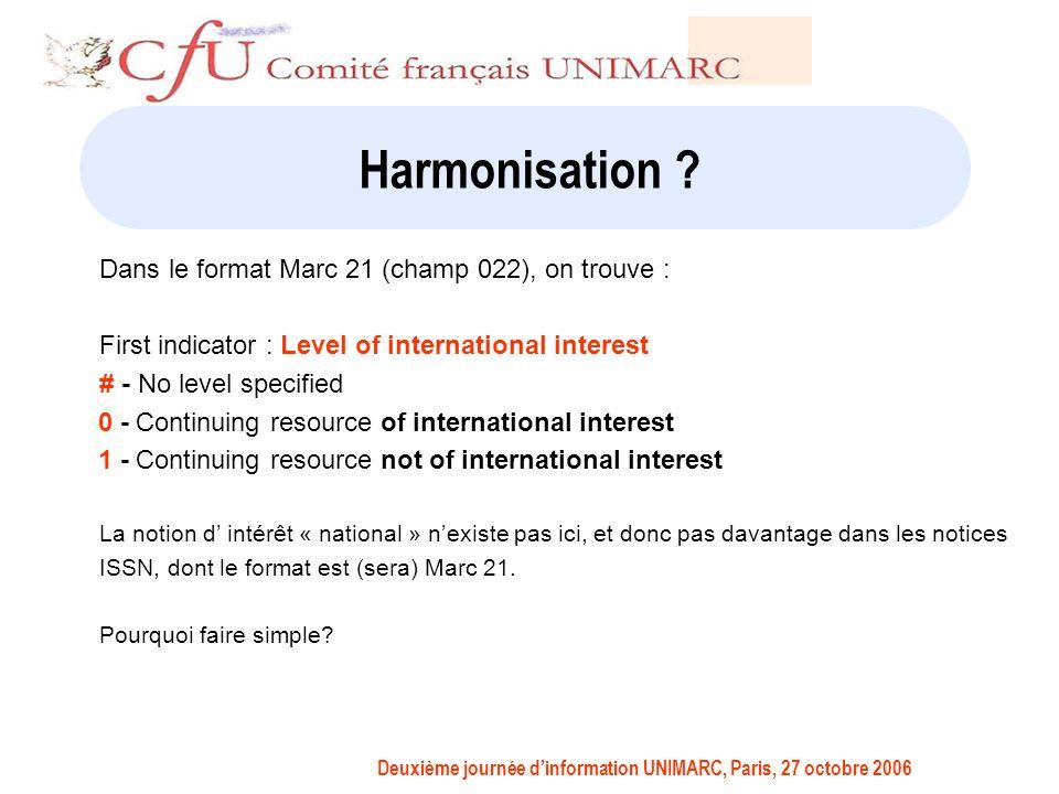 Deuxième journée dinformation UNIMARC, Paris, 27 octobre 2006 Harmonisation .