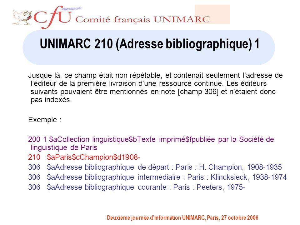 Deuxième journée dinformation UNIMARC, Paris, 27 octobre 2006 UNIMARC 210 (Adresse bibliographique) 1 Jusque là, ce champ était non répétable, et contenait seulement ladresse de léditeur de la première livraison dune ressource continue.