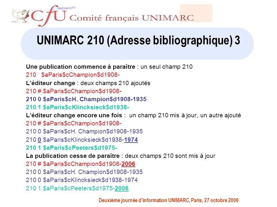 Deuxième journée dinformation UNIMARC, Paris, 27 octobre 2006 UNIMARC 210 (Adresse bibliographique) 3 Une publication commence à paraître : un seul champ 210 210 $aParis$cChampion$d1908- Léditeur change : deux champs 210 ajoutés 210 # $aParis$cChampion$d1908- 210 0 $aParis$cH.