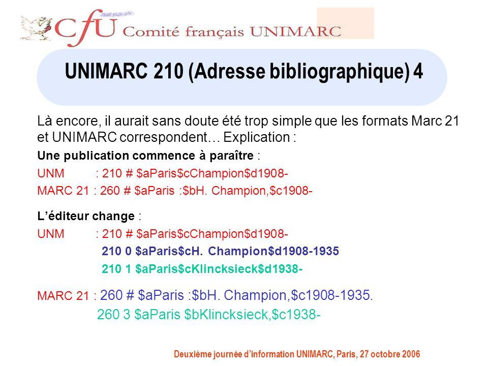 Deuxième journée dinformation UNIMARC, Paris, 27 octobre 2006 UNIMARC 210 (Adresse bibliographique) 4 Là encore, il aurait sans doute été trop simple que les formats Marc 21 et UNIMARC correspondent… Explication : Une publication commence à paraître : UNM : 210 # $aParis$cChampion$d1908- MARC 21 : 260 # $aParis :$bH.