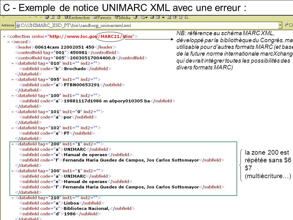 C - Exemple de notice UNIMARC XML avec une erreur : NB: référence au schéma MARC XML, développé par la bibliothèque du Congrès, mais utilisable pour d
