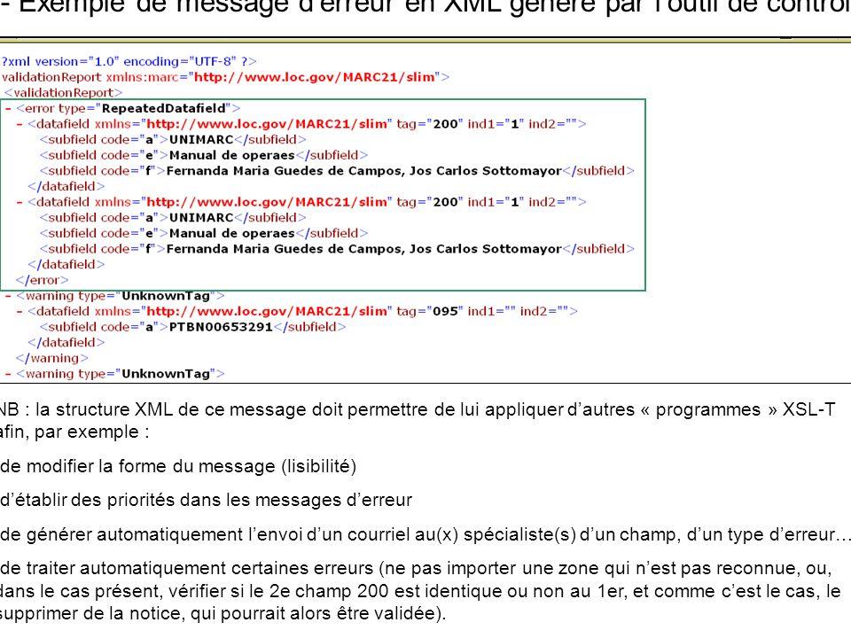 D- Exemple de message derreur en XML généré par loutil de contrôle NB : la structure XML de ce message doit permettre de lui appliquer dautres « progr