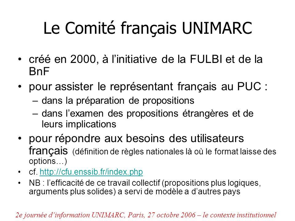Le Comité français UNIMARC créé en 2000, à linitiative de la FULBI et de la BnF pour assister le représentant français au PUC : –dans la préparation d