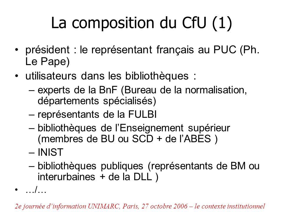 La composition du CfU (1) président : le représentant français au PUC (Ph. Le Pape) utilisateurs dans les bibliothèques : –experts de la BnF (Bureau d